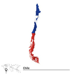 Map of chile with flag vector