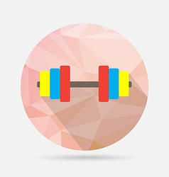Dumbbell flat icon on geometric background vector