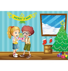 Two adorable kids exchanging their christmas gifts vector