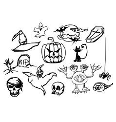 Set with halloween doodles vector