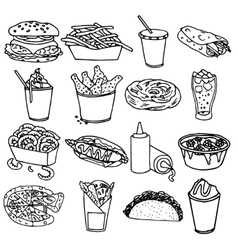 Fast food menu icons black outline vector