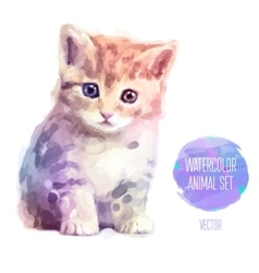Set of watercolor  cute cat vector