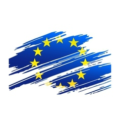 Flag european union in the form traces brush vector
