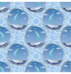 Seamless background portholes and ships vector