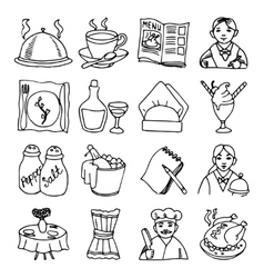 Restaurant dishes black outline icons set vector