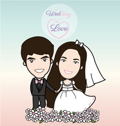 Cute bride and groom vector