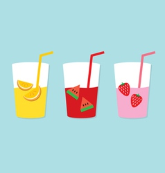 Set of fruit juice glasses vector