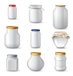 Empty glass jars vector