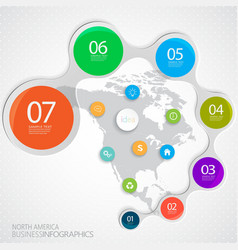 Printnorth america map and elements infographic vector