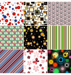 Set colorful seamless patterns vector