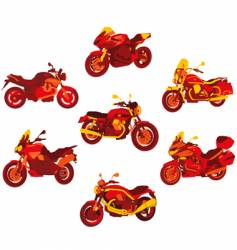 Italian motorcycle red icons set vector