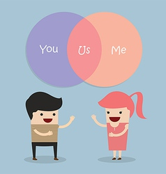 Man and woman talking about their relationship vector