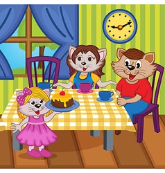 Family cats eat cake together vector