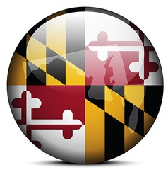 Map on flag button of usa maryland state vector