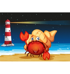 Sea creatures at the beach with a lighthouse vector