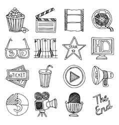 Cinema movie vintage icons set vector