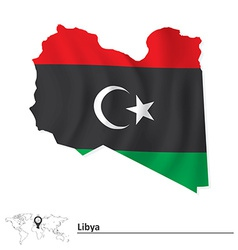 Map of libya with flag vector