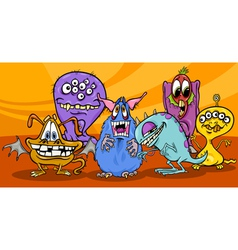 Cartoon monsters group vector