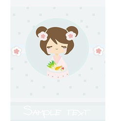 Beautiful asian little girl enjoy sushi - menu vector