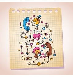 Love telephone conversation note paper cartoon vector