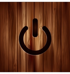 Onoff switch icon power symbol wooden texture vector