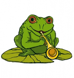 Frog playing the trumpet vector