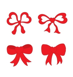Hand drawn sketch of red festive bows in the shape vector