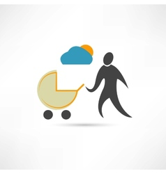Father with sidecar in good weather icon vector