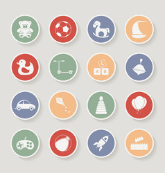 Round children toys icon set vector