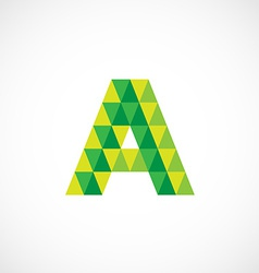 Letter a logo template green and yellow triangle vector