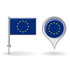 European union pin icon and map pointer flag vector