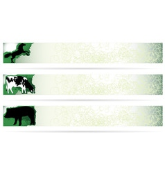 Web elements farm animal banners on modern clean b vector