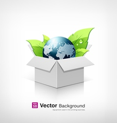 Globe and leaf on open white box vector