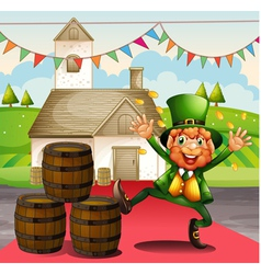 An old man in a green attire beside the barrels vector