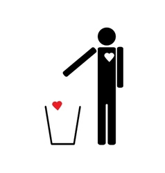 Man throws the trash to your heart vector