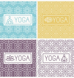 Yoga icons and line badges vector