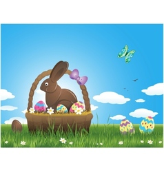 Easter background with eggs and chocolate bunny vector