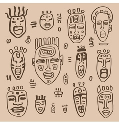 African masks set vector