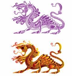 Fiery dragon vector