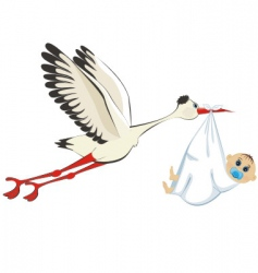 Stork delivering a boy vector