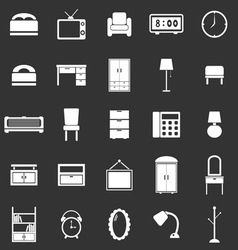 Bedroom icons on black background vector