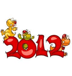 New year border dragon vector