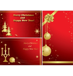 Red christmas frames with gold decor vector