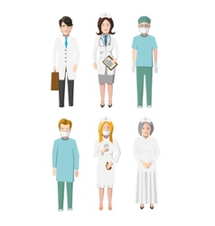 Set of six doctors flat cartoon characters vector