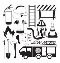 Firefighting tools icon set vector