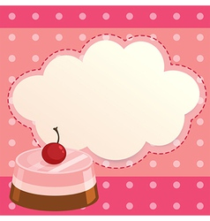A pink paper note with a cake vector
