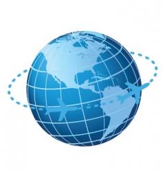 Plane traveling around globe vector