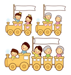 Cartoon family train vector