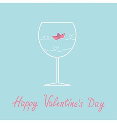 Origami paper boat and heart wave wine glass vector