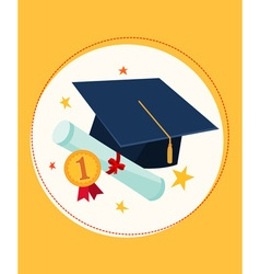 Graduation cap and award vector